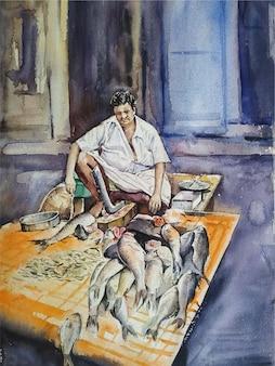 Illustrazione di lavoro venditore di pesce disegnato a mano dell'acquerello