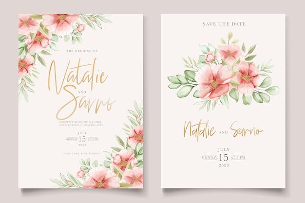 Set di carte floreali e foglie disegnati a mano ad acquerello