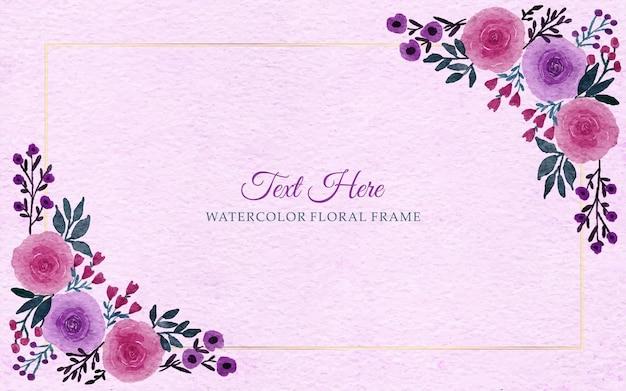 Priorità bassa del bordo della cornice di fiori disegnati a mano dell'acquerello