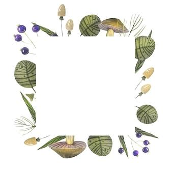 Modello di cornice foresta disegnata a mano dell'acquerello con mora, foglie, felce, amanita, raccolto autunnale.