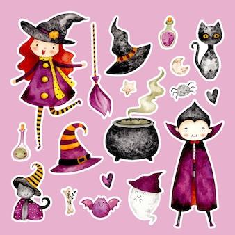 Set di adesivi per costumi di halloween disegnati a mano ad acquerello