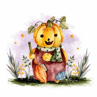Personaggio di zucca di halloween disegnato a mano dell'acquerello Vettore Premium
