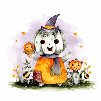 Personaggio di zucca di halloween disegnato a mano dell'acquerello