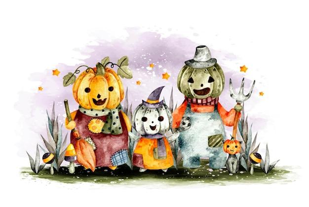 Carattere della famiglia della zucca di halloween disegnato a mano dell'acquerello