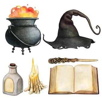 Icone a tema strega di halloween disegnate a mano dell'acquerello