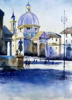 Illustrazione disegnata a mano dell'acquerello della pittura di paesaggio della moschea del patrimonio