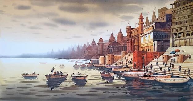 Luogo industrializzato disegnato a mano dell'acquerello all'interno nell'illustrazione dell'edificio