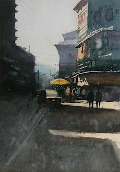Posto industrializzato disegnato a mano dell'acquerello all'interno nell'illustrazione della strada della città