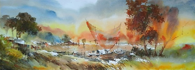 Paesaggio disegnato a mano dell'acquerello