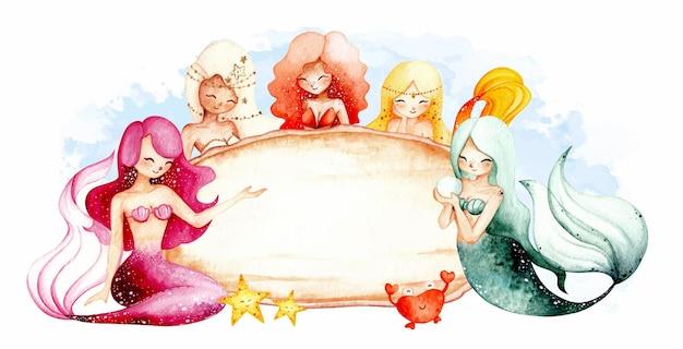 Sirena disegnata a mano dell'acquerello e modello di segno di legno