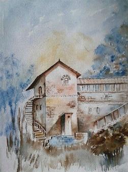 Natura disegnata a mano dell'acquerello, edificio, schizzo del cielo
