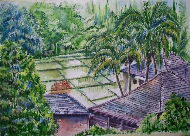 Natura disegnata a mano dell'acquerello, casa e bella illustrazione dell'albero