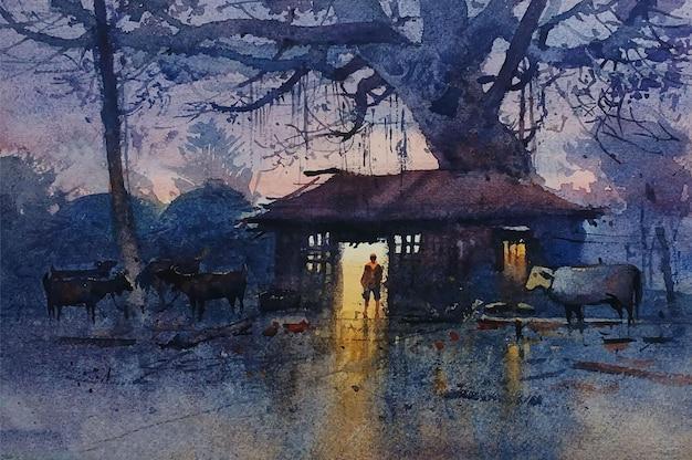 Paesaggio della natura disegnato a mano dell'acquerello con bella illustrazione di scena di sera