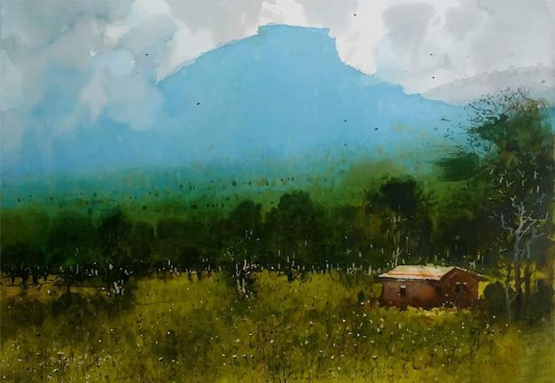 Paesaggio della natura disegnato a mano dell'acquerello con bella illustrazione della natura