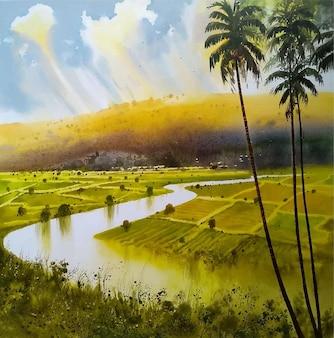 Paesaggio della natura disegnato a mano dell'acquerello con bella illustrazione dell'albero