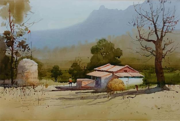 Paesaggio della natura disegnato a mano dell'acquerello con bella illustrazione della casa del villaggio