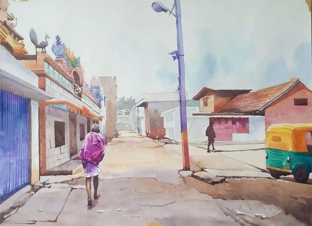 Persona disegnata a mano dell'acquerello che cammina per la strada