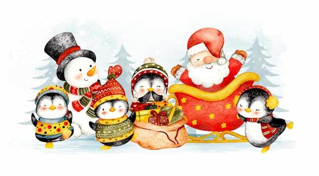 Pupazzo di neve di babbo natale disegnato a mano dell'acquerello e pinguino di natale
