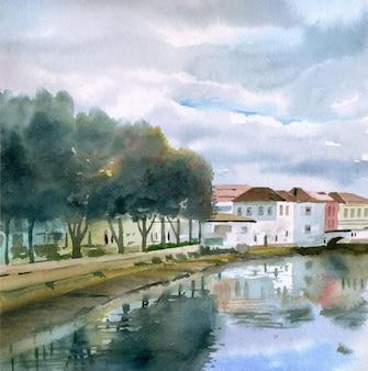 Illustrazione scenica della strada della città natale disegnata a mano dell'acquerello