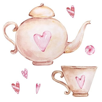 Insieme disegnato a mano dell'acquerello di teiera beige e tazza con cuori rosa isolati su priorità bassa bianca