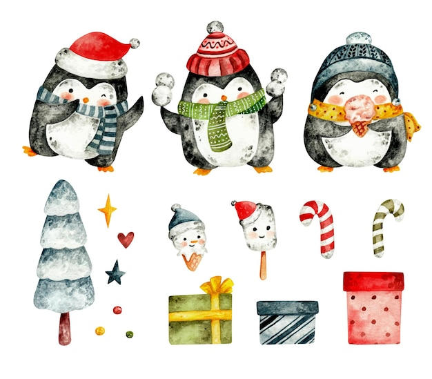Insieme disegnato a mano dell'acquerello del pinguino di natale