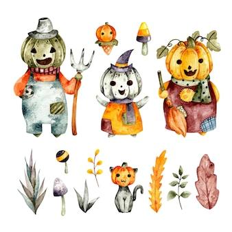 Insieme disegnato a mano dell'acquerello del personaggio della zucca di halloween
