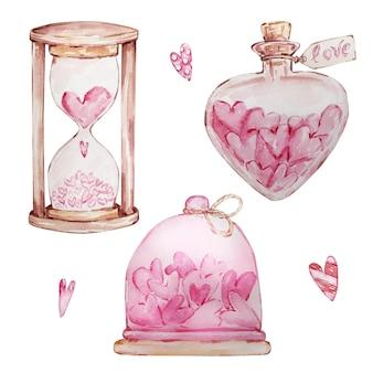 Insieme disegnato a mano dell'acquerello di cuori dolci in un barattolo e clessidra isolato su priorità bassa bianca