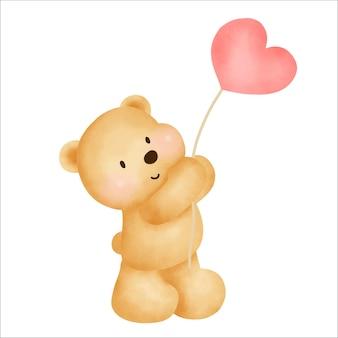 Orsacchiotto disegnato a mano dell'acquerello che tiene un palloncino del cuore.