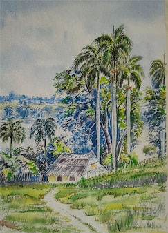 Illustrazione disegnata a mano della natura del villaggio dell'acquerello