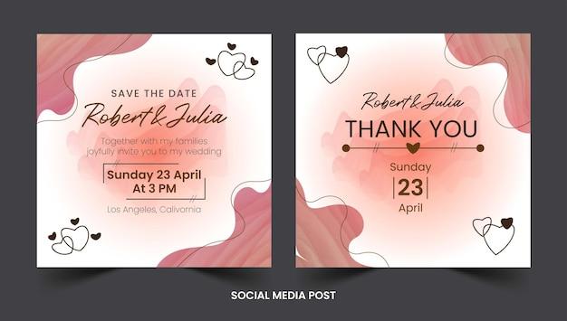 Modello di post di instagram di matrimonio disegnato a mano dell'acquerello premium vector
