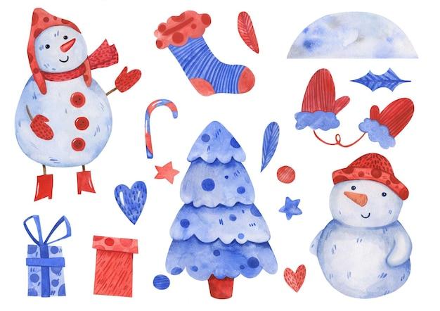 Insieme di natale e capodanno inverno disegnato a mano dell'acquerello