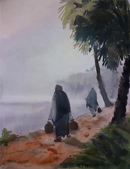 Acquerello dipinto a mano nave da pesca sul mare illustrazione