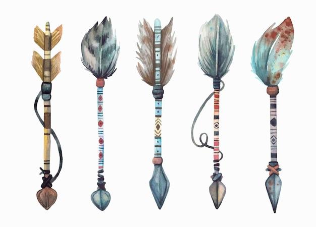 Collezione di frecce boho \ tribali dipinte a mano ad acquerello.