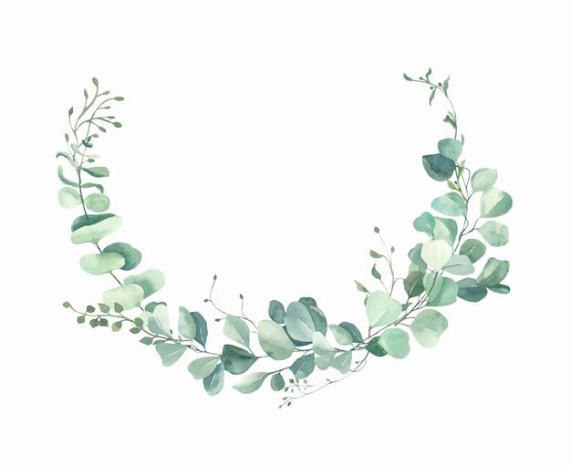 Cornice di foglie dipinte a mano ad acquerello.