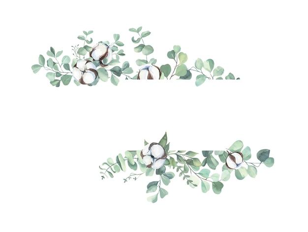 Cornice di foglie dipinte a mano dell'acquerello.