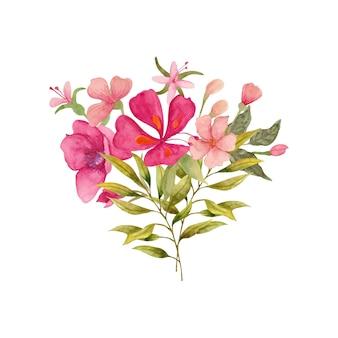 Bouquet di fiori e foglie primaverili colorati dipinti a mano ad acquerello