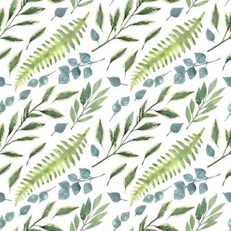 Reticolo senza giunte dipinto a mano dell'acquerello con rami di vegetazione del giardino. Vettore Premium