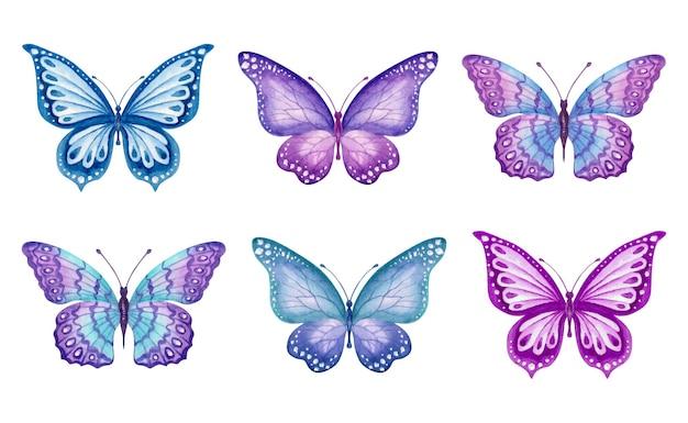 Collezione di set di farfalle primaverili dipinte a mano ad acquerello