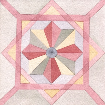 Piastrelle dipinte a mano ad acquerello in stile marocchino. piastrelle d'epoca.