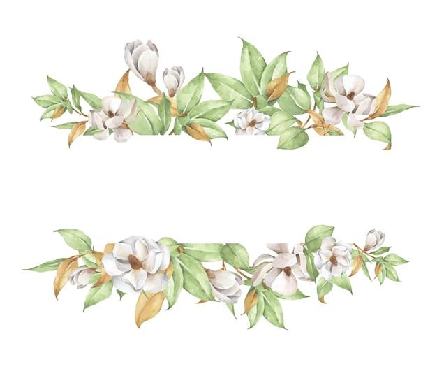 Acquerello dipinto a mano con fiori bianchi e rami.
