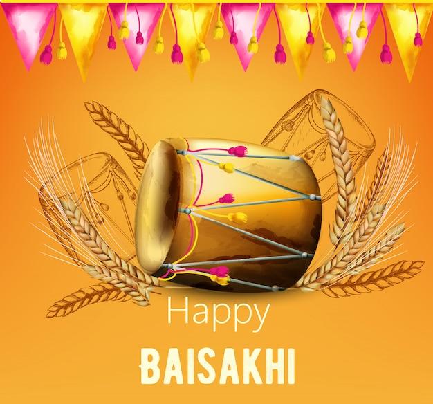 Baisakhi felice dell'acquerello con la spezia del grano