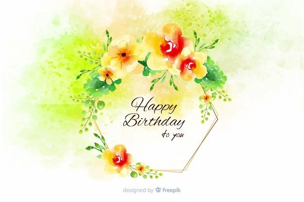 Priorità bassa di buon compleanno dell'acquerello con fiori Vettore Premium