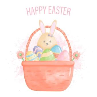 Acquerello felice giorno di pasqua con coniglietto e uovo di pasqua nel cestino