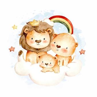 Acquerello felice famiglia di leoni su cloud