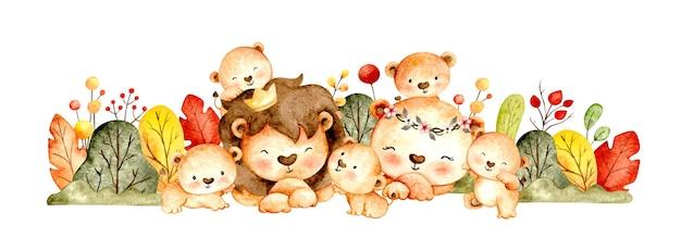 Acquerello felice famiglia di leoni e foglie
