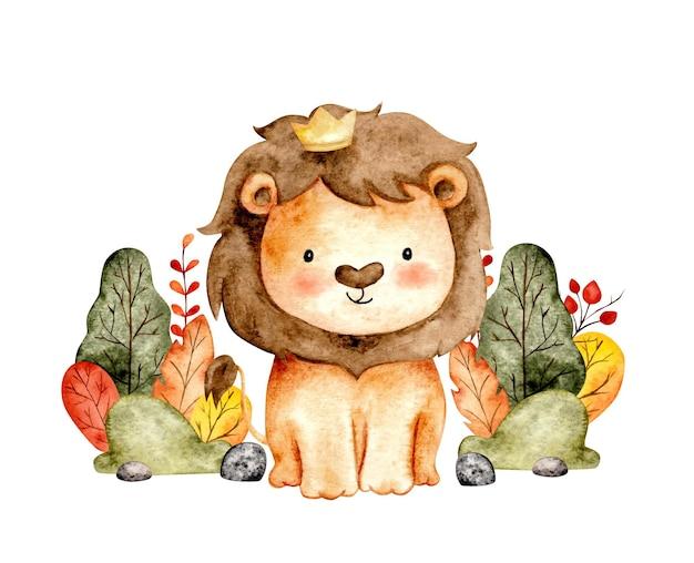 Re leone felice dell'acquerello della giungla Vettore Premium
