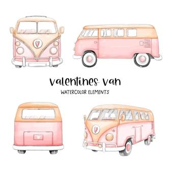 San valentino felice dell'acquerello con furgone carino ed elementi di san valentino