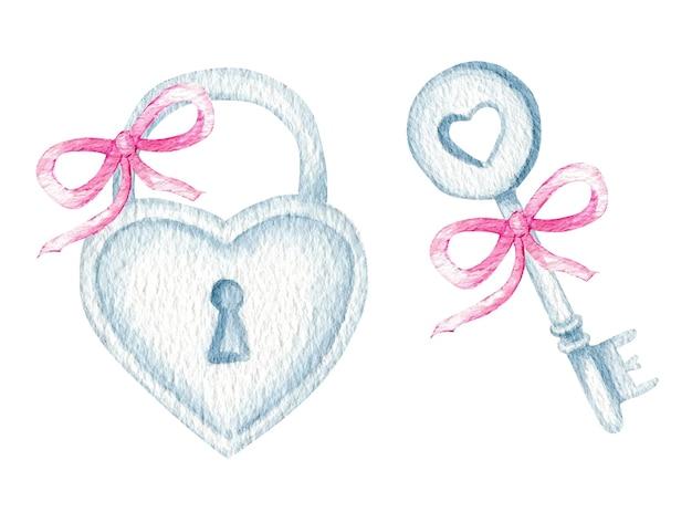 Lucchetto con serratura a chiave a cuore dell'acquerello con fiocco in nastro rosa romance love valentine day