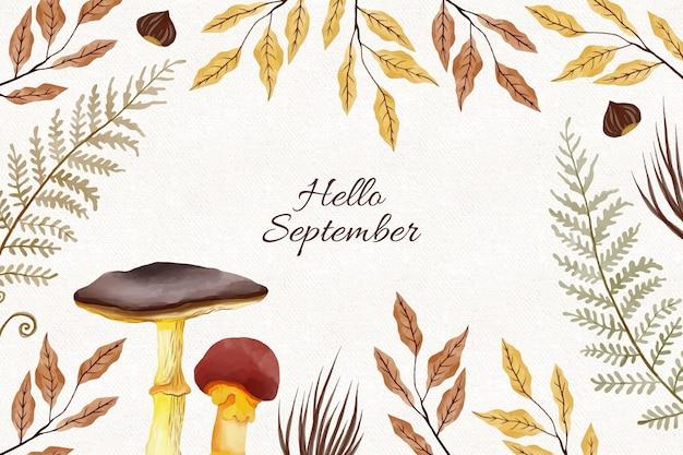Acquerello ciao settembre sfondo
