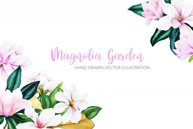 Erbe e fiori dell'acquerello, colori vivaci, cornice ad angolo